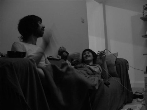 A very happy memory - we are very young here! This is in second flat in London. Listening to music, singing away... Take by our good friend Ross Ferguson.