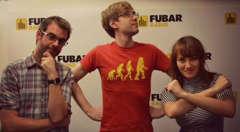 (l-r) SFX's Rich Edwards, Adam Johnson and me! Doing our best superhero impressions.